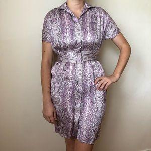 Narciso Rodriguez 100%Silk Snake Print Shirt Dress
